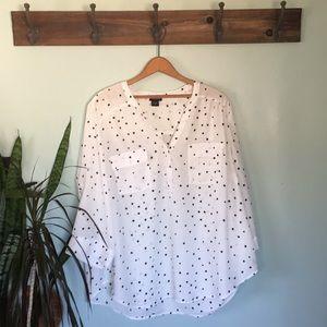 Torrid white with star print blouse.